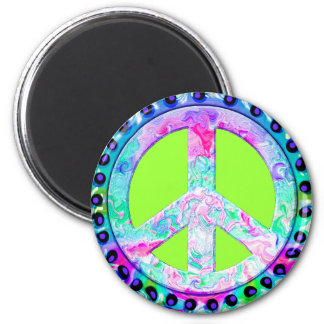 Psychedelic Peace Sign Abstract 2 Inch Round Magnet