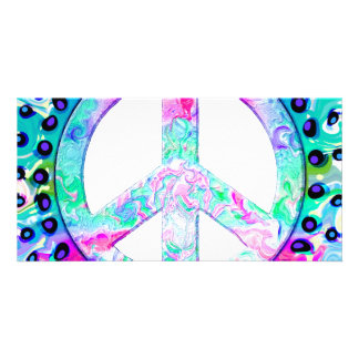 Psychedelic Peace Sign Abstract Photo Greeting Card