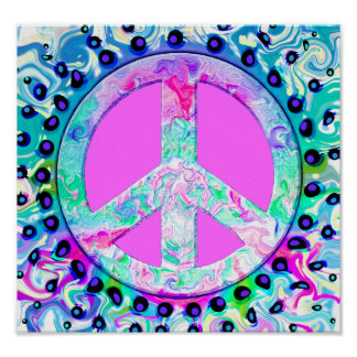 Psychedelic Peace Sign Abstract Poster