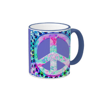 Psychedelic Peace Sign Abstract Ringer Mug