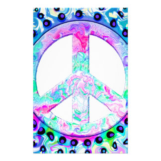 Psychedelic Peace Sign Abstract Stationery