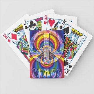 Psychedelic Peace Sign Bicycle Playing Cards