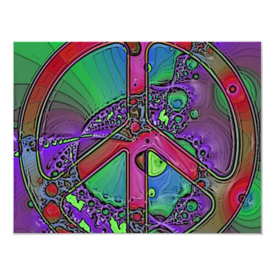 psychedelic peace sign card