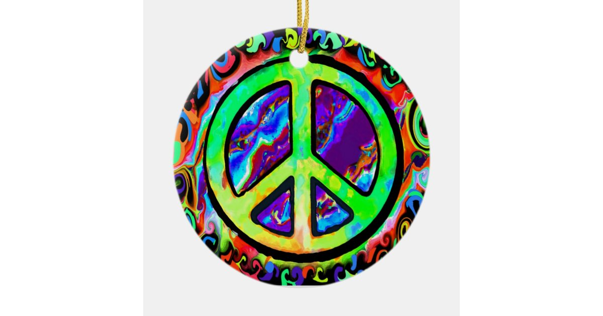 Psychedelic Peace Sign Christmas Ceramic Ornament Zazzle
