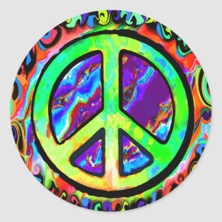 Psychedelic Peace Sign Classic Round Sticker