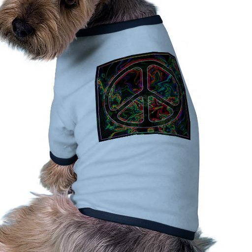 psychedelic peace sign dog shirt