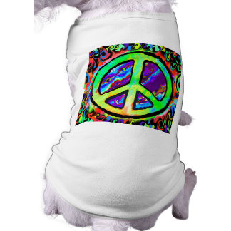 Psychedelic Peace Sign Dog T Shirt