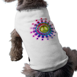PSYCHEDELIC PEACE SIGN DOG TEE SHIRT