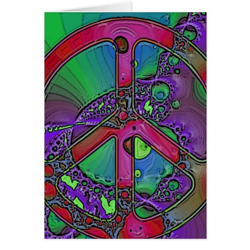 psychedelic peace sign greeting cards