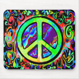 Psychedelic Peace Sign Mouse Pads