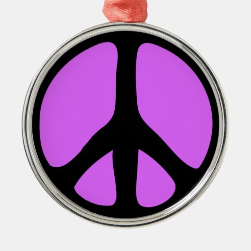 Psychedelic Peace Sign Round Metal Christmas Ornament