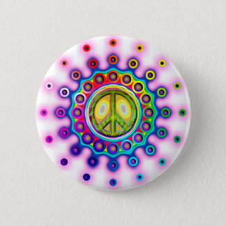 PSYCHEDELIC PEACE SIGN PINBACK BUTTON