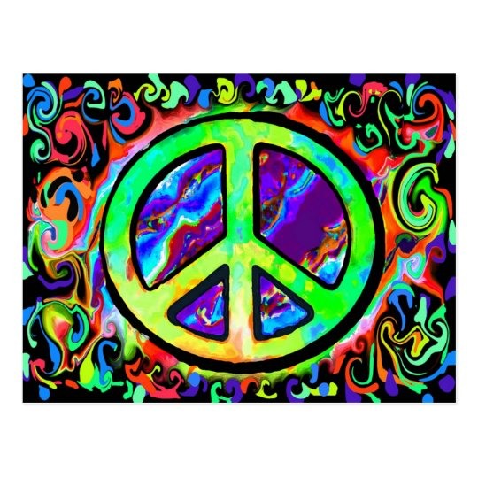 Psychedelic Peace Sign Postcard