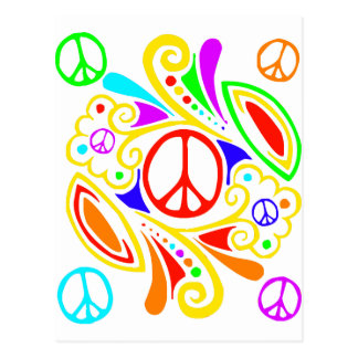 Psychedelic peace symbol. postcard