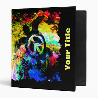 Psychedelic Peace Turtle Customizable Art Binder