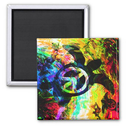 Psychedelic Peace Turtle Magnets