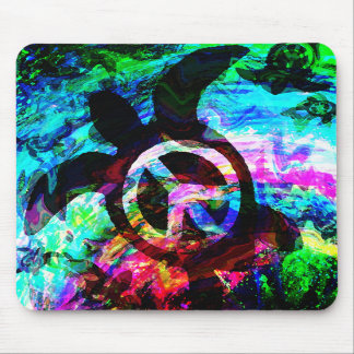 Psychedelic Peace Turtle Mousepad