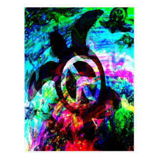 Psychedelic Peace Turtle Notes Card Postcard