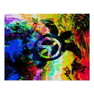 Psychedelic Peace Turtle Poster