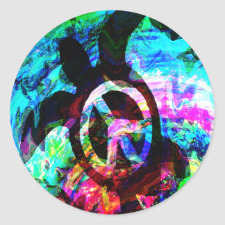 Psychedelic Peace Turtle Stickers