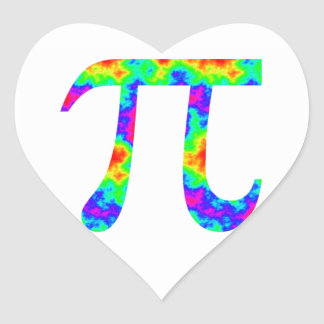 Psychedelic Pi Sign Heart Stickers