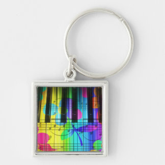 Psychedelic Piano Keyboard and Flower Silver-Colored Square Keychain