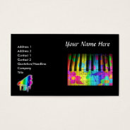 Psychedelic Piano Keyboard And Flowers Business Card at Zazzle