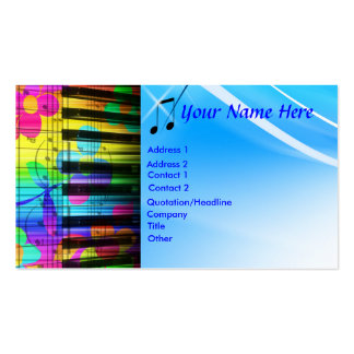 Psychedelic Piano Keyboard and Flowers Business Cards
