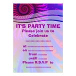 Psychedelic Pink and Purple Fractal Art Invitations