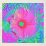 """Psychedelic Pink and Red Hibiscus Flower Scarf<br><div class=""""desc"""">This Original Digital Oil Painting by My Rubio Garden features a Psychedelic Pink and Red Hibiscus Flower with a Groovy Liquid Art Turquoise and Fuchsia background. The result is a Psychedelic,  Groovy,  Trippy image that you will love!</div>"""