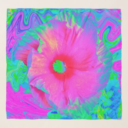 Psychedelic Pink and Red Hibiscus Flower Scarf