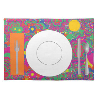 Psychedelic Placemat with plate, glass & flatware