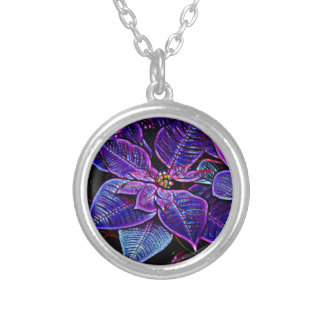 Psychedelic Poinsettia Silver Plated Necklace