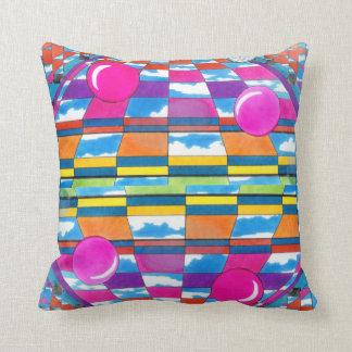 Psychedelic Pop Art Bright Upbeat Modern Decor Throw Pillow