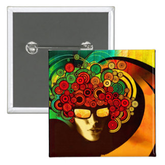 psychedelic pop art 2 inch square button