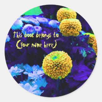 Psychedelic pop flowers bookplate round sticker