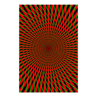 Psychedelic Poster: Red & Green Spiral Poster