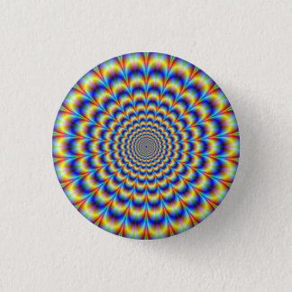 Psychedelic Pulse in Blue and Yellow Button