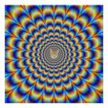 Psychedelic Pulse in Blue and Yellow Poster