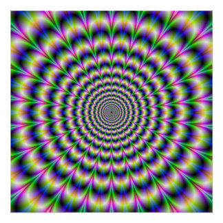 Psychedelic Pulse in Purple and Green  Poster