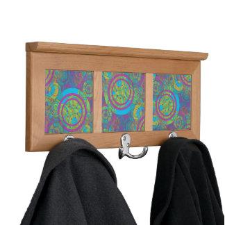 Psychedelic Purlple, Blue, Green & Yellow Circles Coat Racks