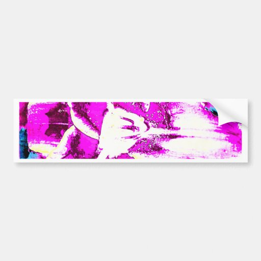 Psychedelic Purple and Blue Flower Bumper Stickers