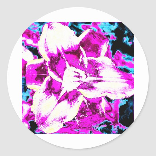 Psychedelic Purple and Blue Flower Classic Round Sticker