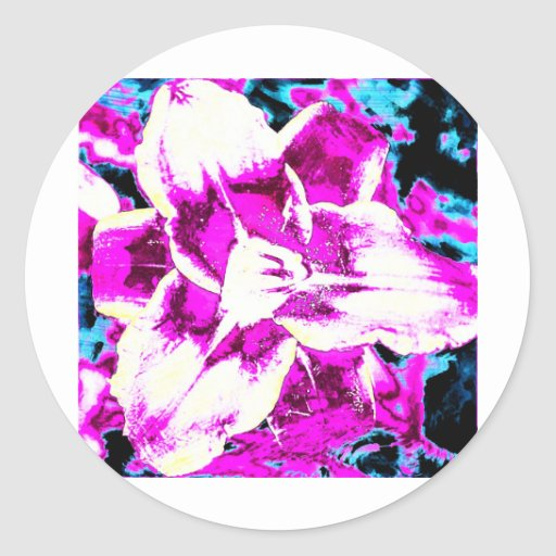 Psychedelic Purple and Blue Flower Round Stickers