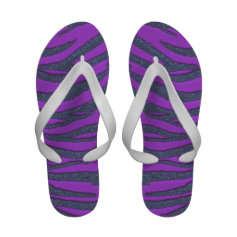 Psychedelic Purple Black Glitter Tiger Flip Flops