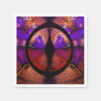 Psychedelic Purple Butterfly Fractal Pattern Paper Napkin