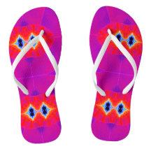 Psychedelic Purple Orange Artwork Flip Flops