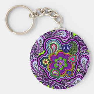 Psychedelic Purple Paisley Basic Round Button Keychain