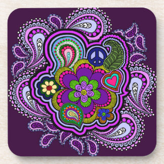 Psychedelic Purple Paisley Cork Coasters