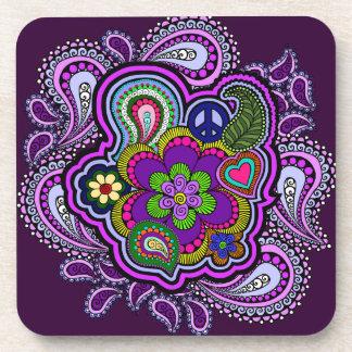 Psychedelic Purple Paisley Cork Coasters